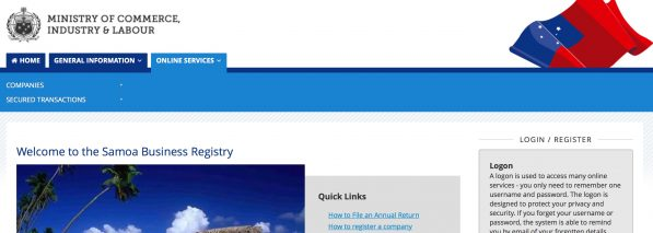 Screenshot of Samoa Business Registry